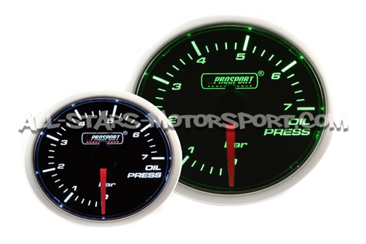 Prosport 52mm Oil Pressure Gauge Green / White